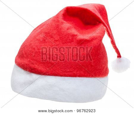 Typical Red Santa Hat Isolated On White Background