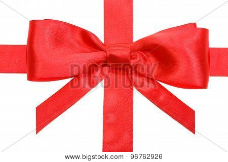 Real Red Bow With Vertical Cuts On Ribbon Close Up