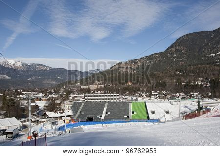 GARMISCH PARTENKIRCHEN, GERMANY. Feb 03 2011: Preview images for the 2011 Alpine skiing World Championships. A general view of the finish are and stadium for the slalom races