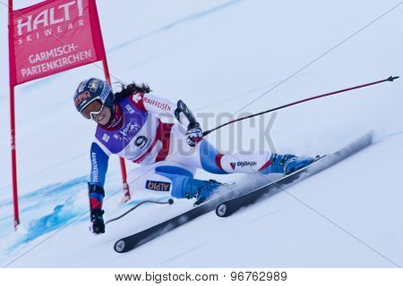 GARMISCH PARTENKIRCHEN, GERMANY. Feb 08 2011: Dominique Gisin (SUI) whilst competing in the women's super giant slalom race at the 2011 Alpine skiing World Championships
