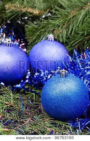 Blue Violet Christmas Baubles, Tinsel, Xmas Tree 1