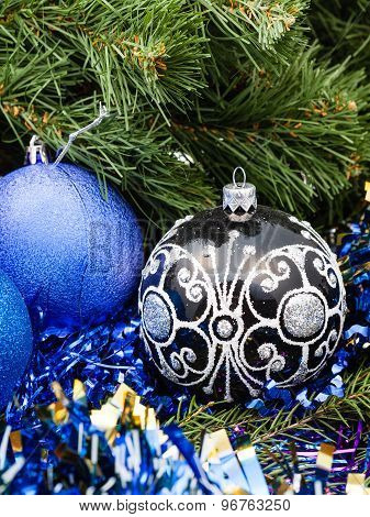 Blue Christmas Baubles, Tinsel, Xmas Tree 4