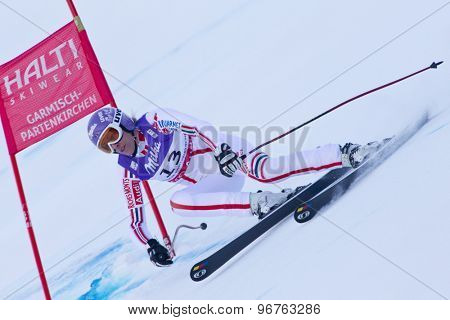 GARMISCH PARTENKIRCHEN, GERMANY. Feb 08 2011: Ingrid Jacquemod (FRA) whilst competing in the women's super giant slalom race at the 2011 Alpine skiing World Championships