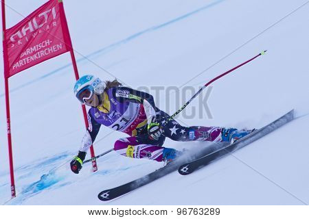GARMISCH PARTENKIRCHEN, GERMANY. Feb 08 2011: Julia Mancuso (USA) whilst competing in the women's super giant slalom race at the 2011 Alpine skiing World Championships