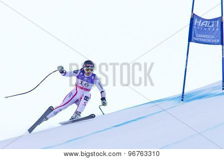 GARMISCH PARTENKIRCHEN, GERMANY. Feb 08 2011: Elisabeth Goergl (AUT) whilst competing in the women's super giant slalom race at the 2011 Alpine skiing World Championships
