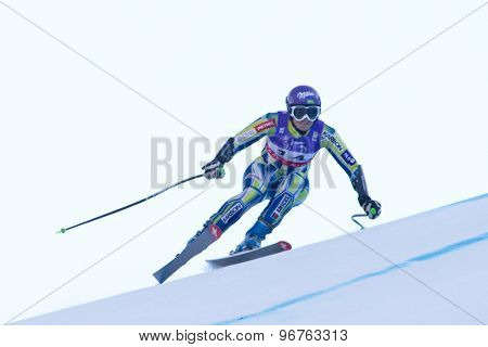 GARMISCH PARTENKIRCHEN, GERMANY. Feb 08 2011: Tina Maze (SLO) whilst competing in the women's super giant slalom race at the 2011 Alpine skiing World Championships