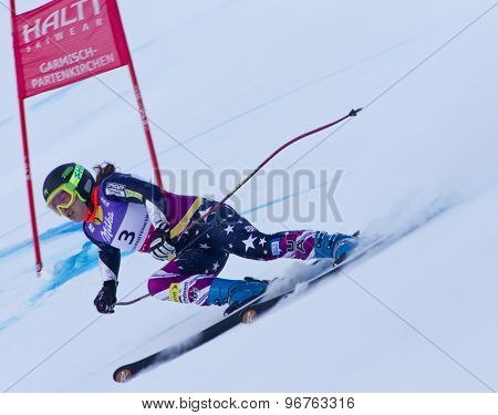 GARMISCH PARTENKIRCHEN, GERMANY. Feb 08 2011: Leanne Smith (USA) whilst competing in the women's super giant slalom race at the 2011 Alpine skiing World Championships