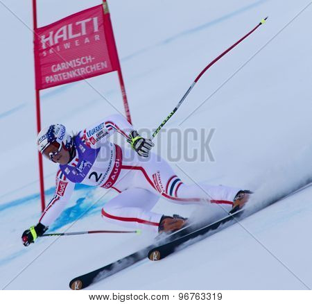 GARMISCH PARTENKIRCHEN, GERMANY. Feb 08 2011: Marion Rolland (FRA) whilst competing in the women's super giant slalom race at the 2011 Alpine skiing World Championships