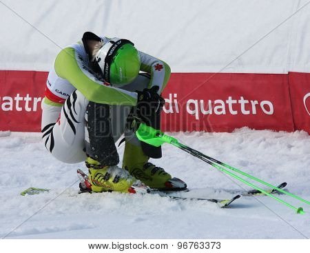 GARMISCH PARTENKIRCHEN, GERMANY. Feb 19 2011: Fanny Chmelar (GER) reacts in the finish area of the women's slalom race , at the 2011 Alpine skiing World Championships