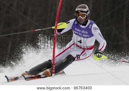 GARMISCH PARTENKIRCHEN, GERMANY. Feb 19 2011: Reinfried Herbst (AUT)  competing in the mens  slalom race , at the 2011 Alpine skiing World Championships
