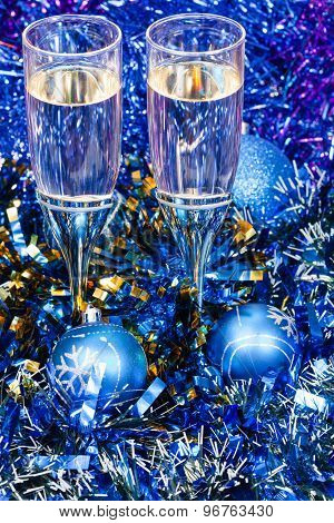 Above View Of Glasses In Blue Xmas Decorations