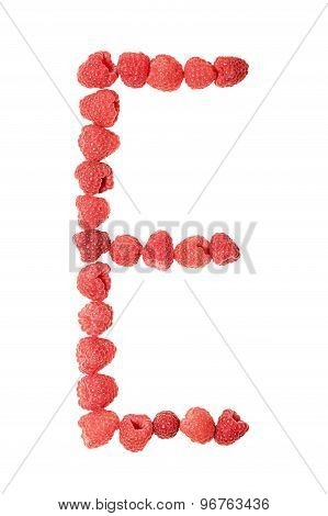 Letter E made from raspberry