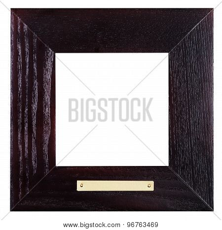 Square Black Wooden Picture Frame With Brass Plate