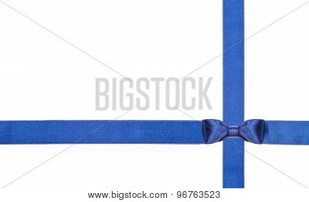 Blue Satin Bows And Ribbons Isolated - Set 11