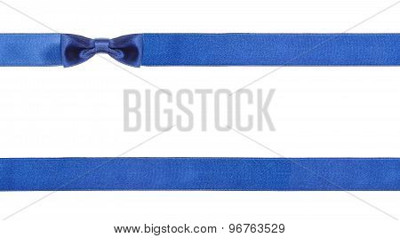 Blue Satin Bows And Ribbons Isolated - Set 17