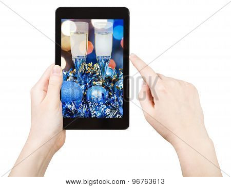 Take Photo Of Blue Xmas Still Life With Tablet Pc