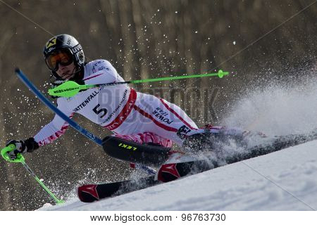 GARMISCH PARTENKIRCHEN, GERMANY. Feb 19 2011: Kathrin Zettel (AUT) competing in the women's slalom race , at the 2011 Alpine skiing World Championships