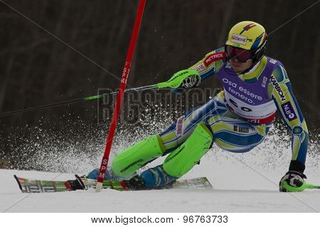 GARMISCH PARTENKIRCHEN, GERMANY. Feb 19 2011: Mitja Valencic (SLO)  competing in the mens  slalom race , at the 2011 Alpine skiing World Championships