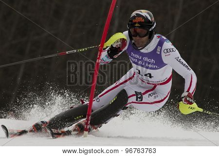 GARMISCH PARTENKIRCHEN, GERMANY. Feb 19 2011: Mario Matt (AUT)  competing in the mens  slalom race , at the 2011 Alpine skiing World Championships