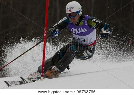 GARMISCH PARTENKIRCHEN, GERMANY. Feb 19 2011: Lars-Elton Myhre (NOR)  competing in the mens  slalom race , at the 2011 Alpine skiing World Championships
