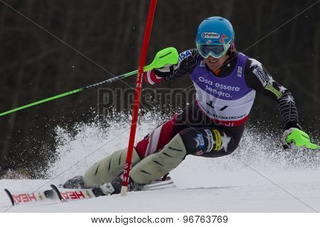 GARMISCH PARTENKIRCHEN, GERMANY. Feb 19 2011: Ted Ligety (USA)  competing in the mens  slalom race , at the 2011 Alpine skiing World Championships