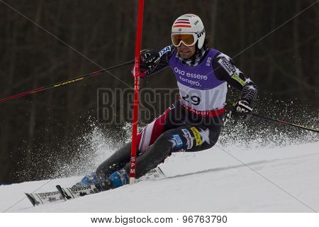 GARMISCH PARTENKIRCHEN, GERMANY. Feb 19 2011: Nolan Kasper (USA)  competing in the mens  slalom race , at the 2011 Alpine skiing World Championships