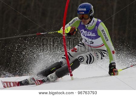 GARMISCH PARTENKIRCHEN, GERMANY. Feb 19 2011: Felix Neureuther (GER)  competing in the mens  slalom race , at the 2011 Alpine skiing World Championships