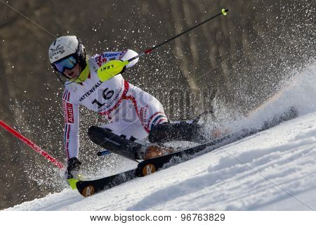GARMISCH PARTENKIRCHEN, GERMANY. Feb 19 2011: Tessa Worley (FRA) competing in the women's slalom race , at the 2011 Alpine skiing World Championships