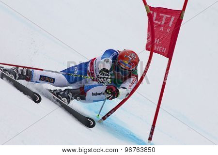 GARMISCH PARTENKIRCHEN, GERMANY. Feb 18 2011: Didier Cuche (SUI) competing in the mens giant slalom race on the Kandahar race piste at the 2011 Alpine skiing World Championships