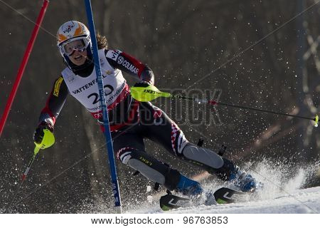 GARMISCH PARTENKIRCHEN, GERMANY. Feb 19 2011: Ana Jelusic (CRO) competing in the women's slalom race , at the 2011 Alpine skiing World Championships