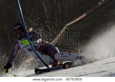 GARMISCH PARTENKIRCHEN, GERMANY. Feb 19 2011: Erin Mielzynski (CAN) competing in the women's slalom race , at the 2011 Alpine skiing World Championships