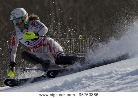 GARMISCH PARTENKIRCHEN, GERMANY. Feb 19 2011: Anne-Sophie Barthet (FRA) competing in the women's slalom race , at the 2011 Alpine skiing World Championships