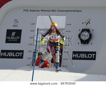GARMISCH PARTENKIRCHEN, GERMANY. Feb 19 2011: Julia Mancuso (USA) competing in the women's slalom race , at the 2011 Alpine skiing World Championships