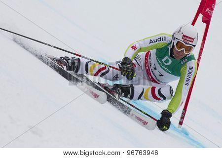 GARMISCH PARTENKIRCHEN, GERMANY. Feb 18 2011: Fritz Dopfer (GER) competing in the mens giant slalom race on the Kandahar race piste at the 2011 Alpine skiing World Championships