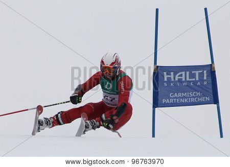 GARMISCH PARTENKIRCHEN, GERMANY. Feb 18 2011: Porya Saveh-Shemshaki (IRA) competing in the mens giant slalom race on the Kandahar race piste at the 2011 Alpine skiing World Championships