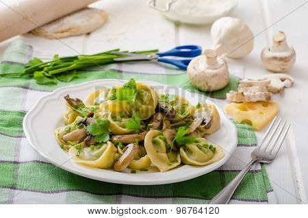 Homemade Tortellini With Mushrooms And Herbs