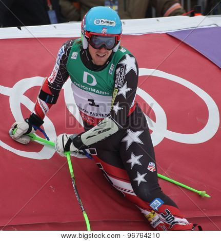 GARMISCH PARTENKIRCHEN, GERMANY. Feb 18 2011: Race winner Ted Ligety (USA) in the finish area of the mens giant slalom race on the Kandahar race piste at the 2011 Alpine skiing World Championships