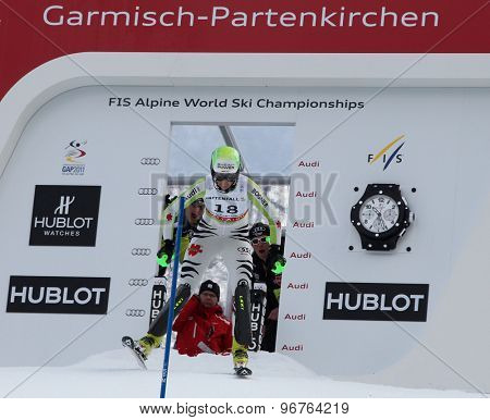 GARMISCH PARTENKIRCHEN, GERMANY. Feb 19 2011: Fanny Chmelar (GER) competing in the women's slalom race , at the 2011 Alpine skiing World Championships