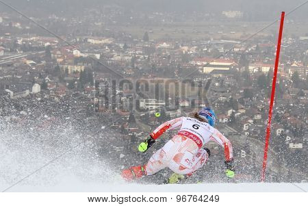 GARMISCH PARTENKIRCHEN, GERMANY. Feb 19 2011: Tanja Poutiainen (FIN) competing in the women's slalom race , at the 2011 Alpine skiing World Championships