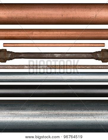 Copper, steel, rusty and painted metal pipes isolated on white background