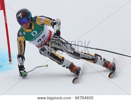 GARMISCH PARTENKIRCHEN, GERMANY. Feb 18 2011: Mike Rishworth (AUS) competing in the mens giant slalom race on the Kandahar race piste at the 2011 Alpine skiing World Championships