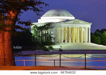 Washington DC at night - Jefferson Memorial as seen from Tidal Basin