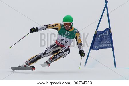GARMISCH PARTENKIRCHEN, GERMANY. Feb 18 2011: Hugh Stevens (AUS) competing in the mens giant slalom race on the Kandahar race piste at the 2011 Alpine skiing World Championships