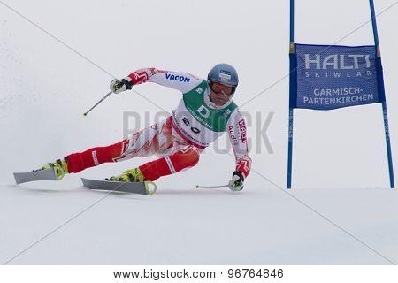 GARMISCH PARTENKIRCHEN, GERMANY. Feb 18 2011: Kalle Palander (FIN) competing in the mens giant slalom race on the Kandahar race piste at the 2011 Alpine skiing World Championships