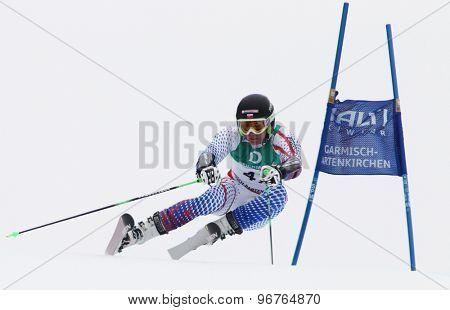 GARMISCH PARTENKIRCHEN, GERMANY. Feb 18 2011: Adam Zampa (SVK) competing in the mens giant slalom race on the Kandahar race piste at the 2011 Alpine skiing World Championships