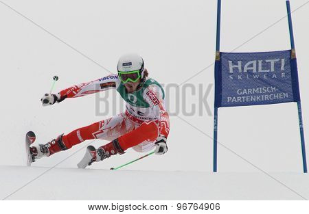 GARMISCH PARTENKIRCHEN, GERMANY. Feb 18 2011: Samu Torsti (FIN) competing in the mens giant slalom race on the Kandahar race piste at the 2011 Alpine skiing World Championships