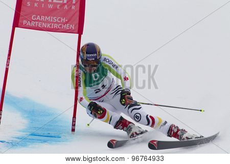GARMISCH PARTENKIRCHEN, GERMANY. Feb 18 2011: Felix Neureuther (GER) competing in the mens giant slalom race on the Kandahar race piste at the 2011 Alpine skiing World Championships