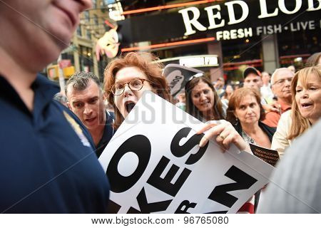 Passionate woman at rally