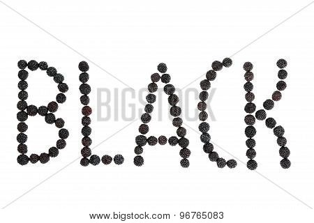 Word Black lined with blackberry