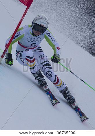 GARMISCH PARTENKIRCHEN, GERMANY. Feb 17 2011: REBENSBURG Viktoria (GER) competing in the women's giant slalom  race  at the 2011 Alpine skiing World Championships